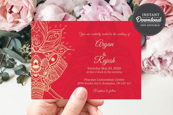 Printable Indian Wedding Invitation Template Corjl Instant Etsy