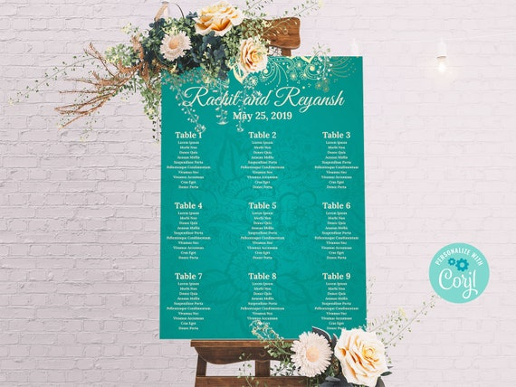 Classic Wedding Seating Chart Corjl Template Seating Chart Hindu Wedding Seating Printable Seating Seating Plan Seating Chart Poster