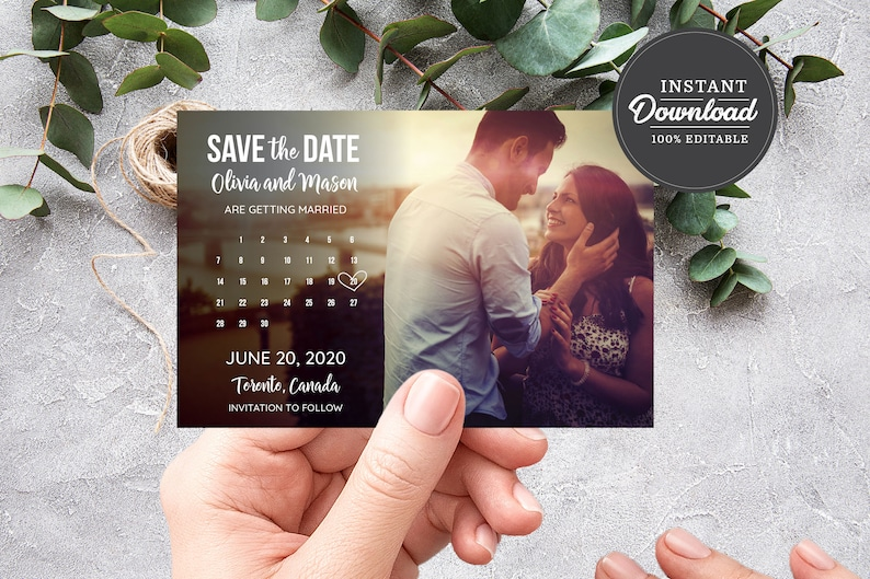 PRINTABLE Photo Save the Date Template Digital Download image 0