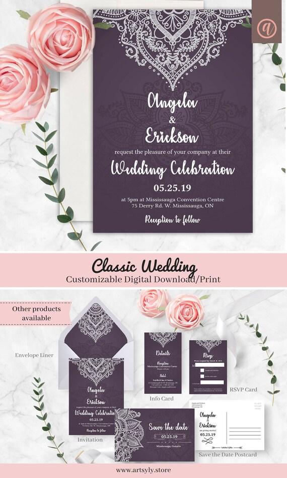 Classic Wedding Invitation Digital Download Indian Wedding Party Invitation Hindu Wedding Printable Invitation Wedding Invitation