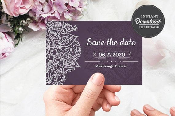 Save the Date  Wedding  Template  Printable  Digital Download  Instant Download  Personalized  Custom  Wedding Invitation  Postcard