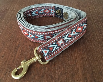 Luxury Red and Gold Southwest dog leash. Graphic tribal pattern sewn with golden thread. Golden solid brass snap hook