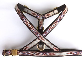 """Native Brown dog harness 3/4"""" straps (18 mm). Woven no choke adjustable harness, Western/ Native American style with golden brass"""