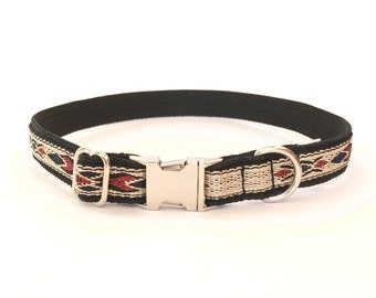 """Native Blue dog collar 3/4"""" (18 mm). Woven Western/ Native American style with metal adjusters and ring. Plastic or metal buckle"""