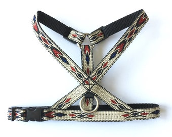 Native Blue Thin Dog Harness. Woven Western / Native American style pattern.