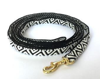 Thin Dog black and white geometric pattern dog leash