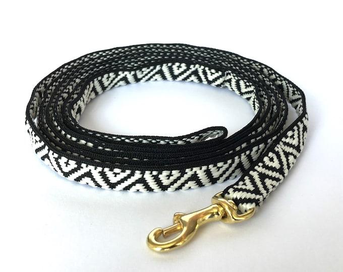 Featured listing image: Thin Dog black and white geometric pattern dog leash