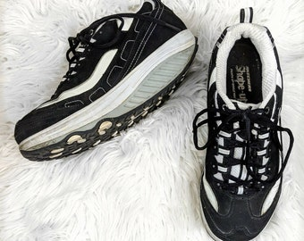 fbe4ae694e07 Vintage Skechers Shape ups Black white womens 8.5 retro platform sneaker  old school 90s Y2k style running shoe