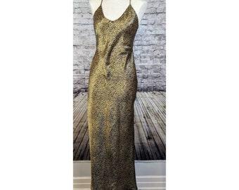 Leopard silky slinky long maxi slip dress  6157e733b