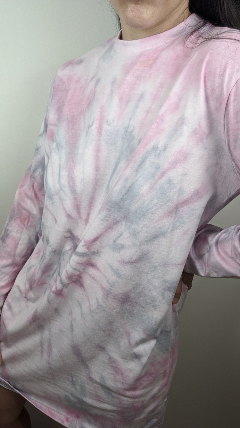 Tee dress Tie Dyed Pink gray white pastels long sleeved T shirt Dress Reworked hand dyed Size 4 US