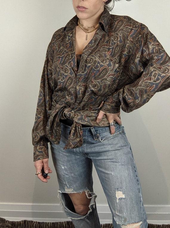 Vintage Silk Earth-tone Aztec Print Blouse Womens Medium Large