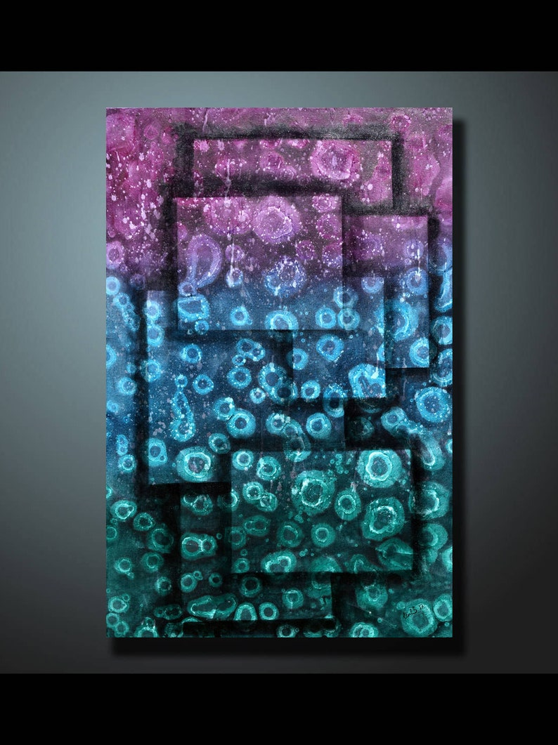 Original Abstract Painting Blue Wall Art Abstract painting image 0