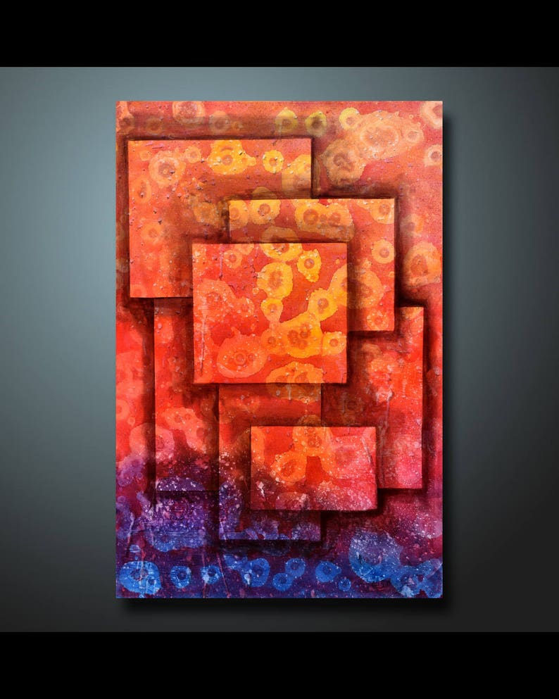 Original Abstract Painting Red Wall Art Abstract painting Home image 0