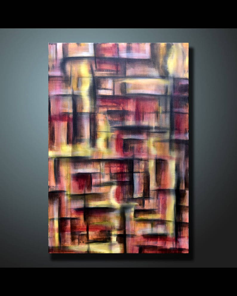 Original Painting Red Wall Art Abstract painting Home Decor image 1