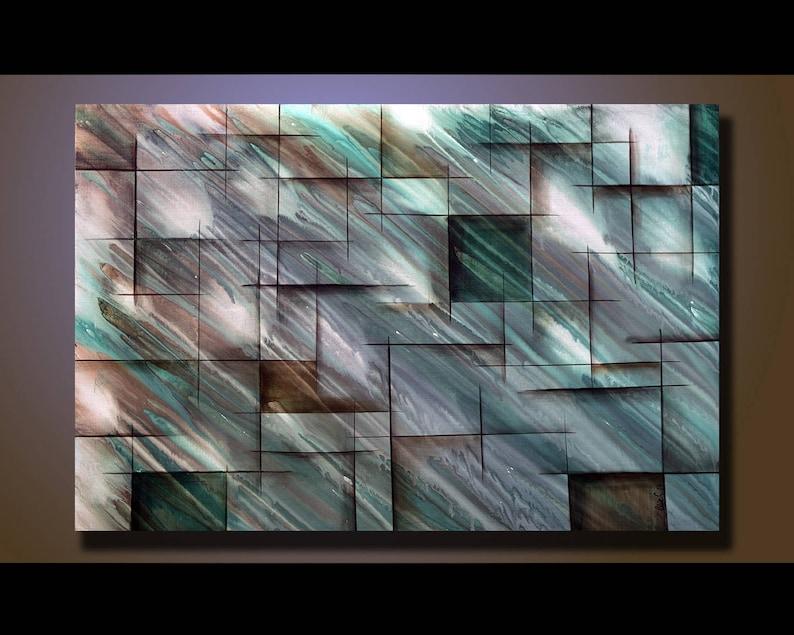 Original Abstract Painting Green Wall Art Abstract painting image 1