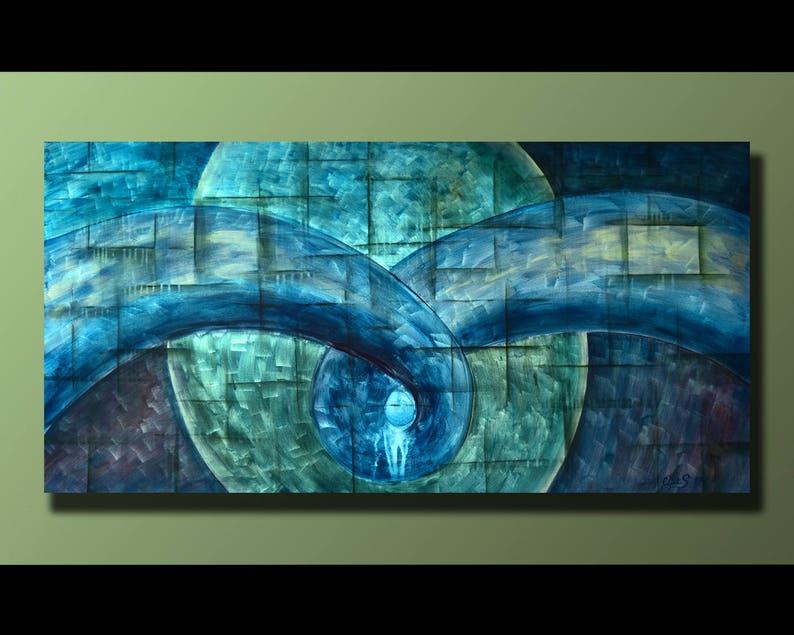 Original Abstract Painting Blue  Green Wall Art Abstract image 1
