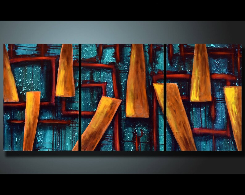Original Abstract Triptych Teal Wall Art Blue Abstract image 0