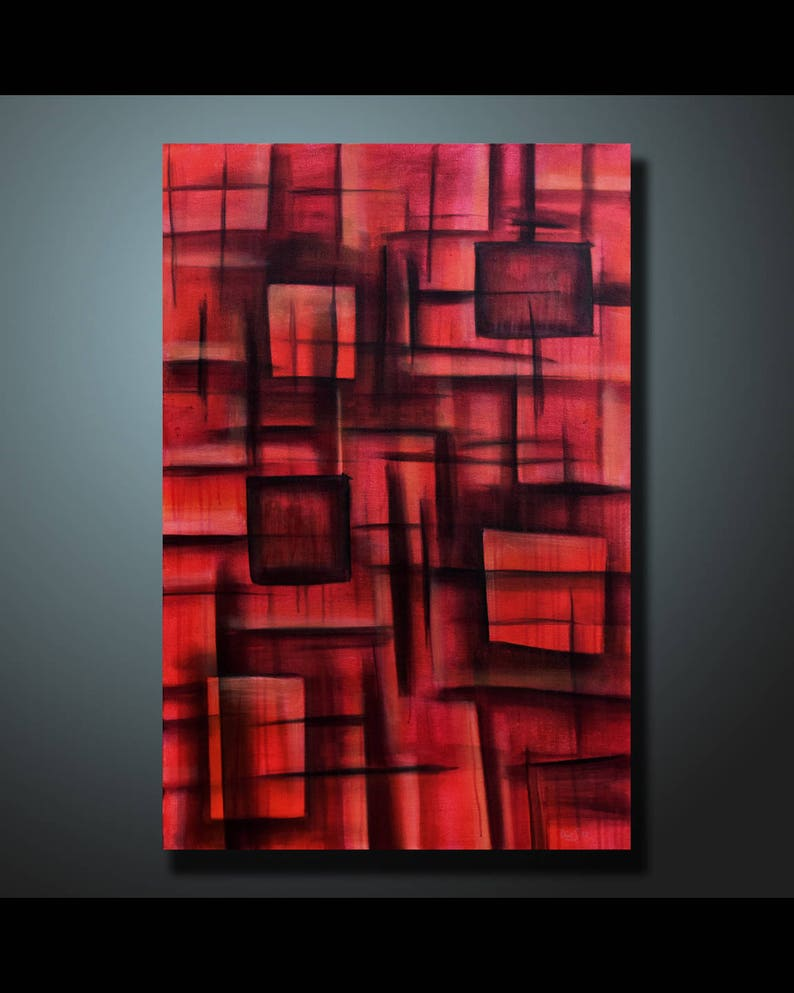 Original Abstract Painting Red Wall Art Abstract painting Home image 1