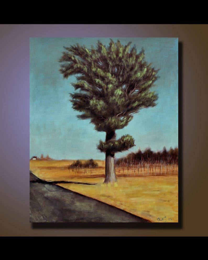Original Landscape Painting Tree Wall Art Landscape painting image 1