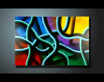 Original Painting Colorful Wall Art Abstract painting Home Decor Modern Art Canvas Artwork Hand Made Abstract Acrylic Painting 24 x 36