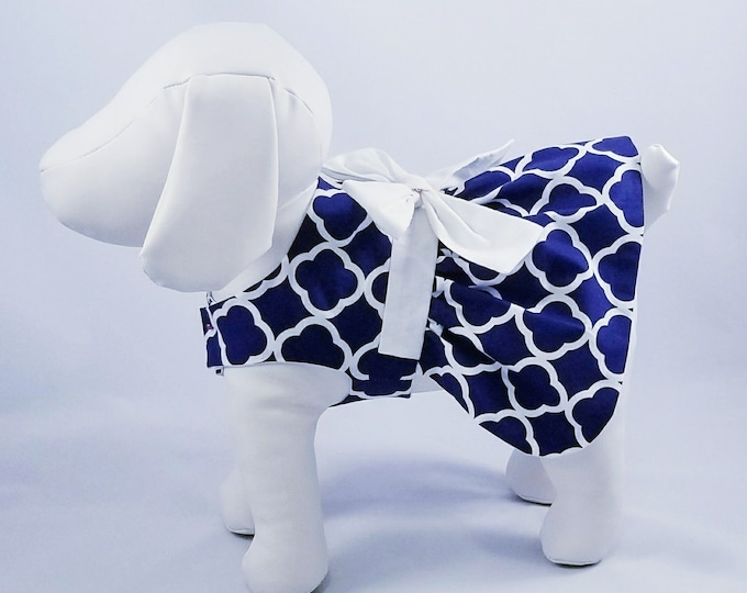 Featured listing image: White Quatrefoil on Navy Dog Dress