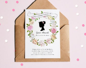 6cc67ff25716 Personalised Bridal Shower    Birthday Invitation    Jane Austen    Pride    Prejudice    afternoon tea    invite    party