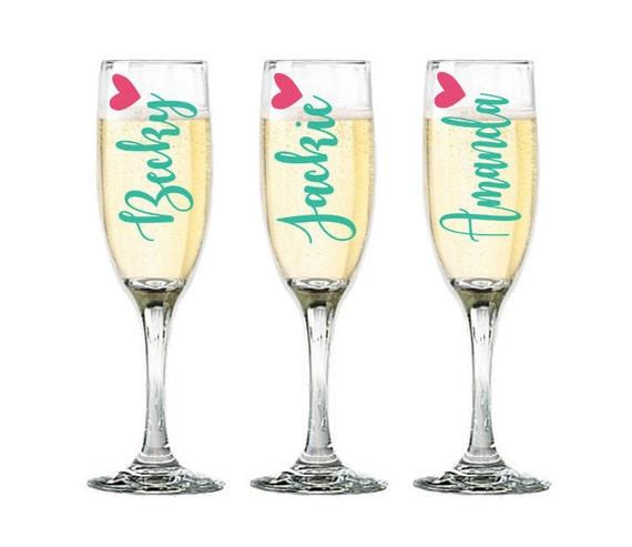 Personalized Champagne Glasses Bridesmaid Glasses Wedding Etsy