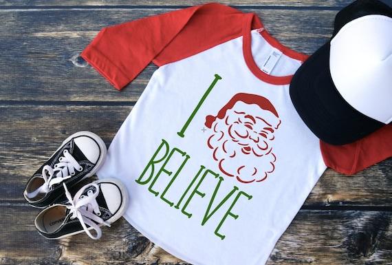 2fd30547f7695 Kids Christmas Shirt - I Believe - Kids Holiday Raglan - Kids Santa Raglan  - Kids Santa Shirt - I Believe Shirt - Kids I Believe