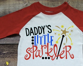 Daddy's Little Sparkler - Girls July 4th Shirt - Girls July 4th - July 4th Shirt - July 4th Raglan - Girls Raglan - Fireworks Shirt