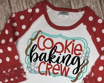 Cookie Baking Crew - Kids Christmas Shirt - Christmas Raglan - Girls Christmas - Christmas Shirt - Boys Christmas - Santa's Helper Shirt