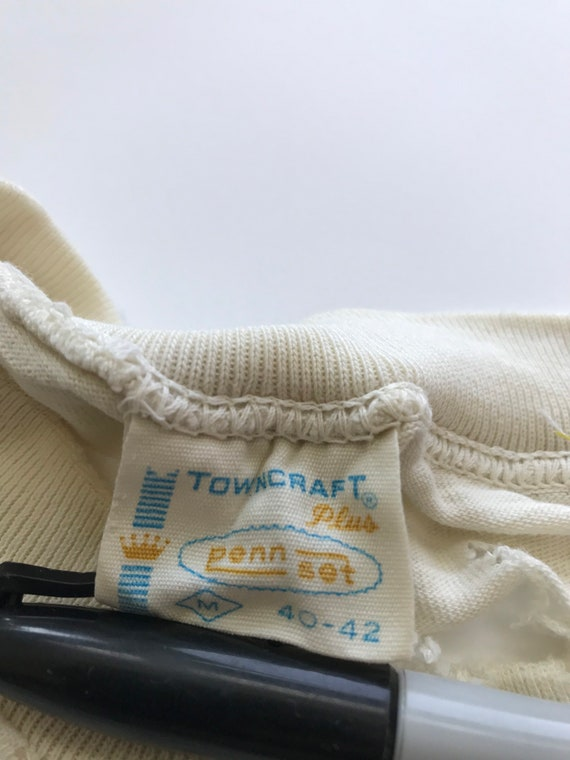 Vintage 1960s Pennys Towncraft Blank T Shirt Whit… - image 10