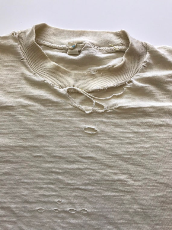 Vintage 1960s Pennys Towncraft Blank T Shirt Whit… - image 3