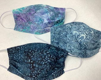 Set of 3 cotton Face Masks-batik fabrics beautiful blues, purple, aqua- comfortable and soft, made in Maine