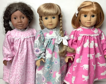 Pretty Pink Set of 3 Doll Nightgowns- unicorn, pink stars, cats- fits 18 in dolls, quality, handmade cotton doll clothing, made in Maine