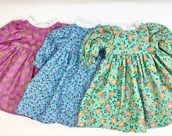 Pretty Prints Set of 3 Doll Dresses- fits 18 in dolls- old fashion style, handmade and unique cotton doll clothing, made in Maine