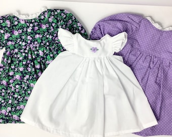 Sweet Dresses Set w/ pinafore- pretty cotton fabric prints- fit 18in dolls,  unique, handmade cotton doll clothing, made in Maine USA