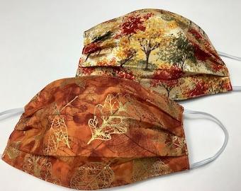 Set of 2 Cotton Face Masks- autumn colors orange w/gold fall leaves