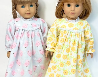 Soft Flannel Set of 2 Doll Nightgowns - pink birds, yellow buttercup- fits 18 in dolls, handmade cotton doll clothing, made in Maine