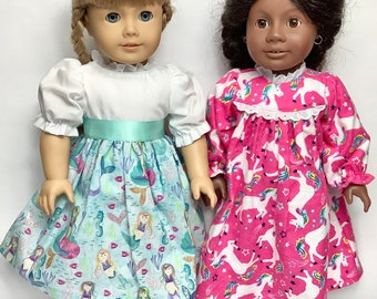 Doll Dress & Nightgown Handmade in Maine- 3 piece set fits 18 in dolls, unicorn mermaids prints