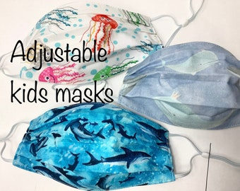 Adjustable kids masks set of 3- shark, dinosaur, jellyfish, fun back-to-school, comfortable, double layer cotton, washable, made in Maine