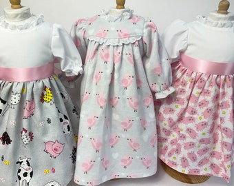 Pink Set 18 in Doll Dresses & Nightgown- Farm Animals prints- handmade in Maine, unique heirloom quality