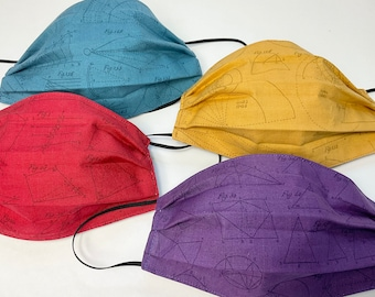 Geometry Set of 4 Cotton Face Masks- math STEM on purple, gold, red, blue- comfortable, double layer, made in Maine