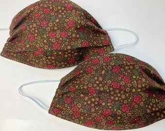 Fall Flowers Set of 2 Cotton Face Masks- autumn colors on brown- double layer, comfortable, made in Maine