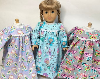 Fun Flannel Set of 3 Doll Nightgowns - mermaid, butterfly, owl- fits 18 in dolls, handmade cotton doll clothing, made in Maine