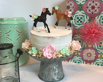 Pony Cake Topper Horse Party Decorations Girl Birthday Brown Ponies Horses Equestrian Riding Vintage Pink Mint
