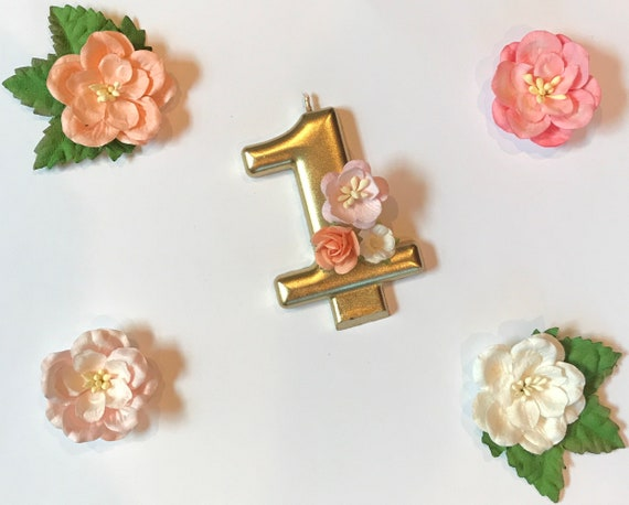 Gold Number One Candle Floral First Birthday Boho Chic Flower