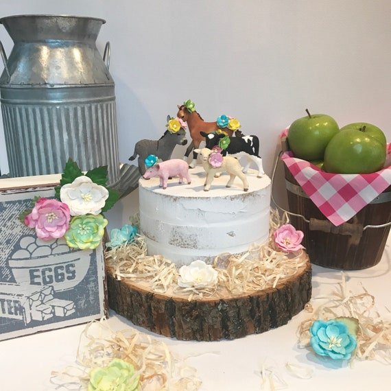 Farm Animals Cake Topper Barnyard Party Decorations Farm Birthday Rustic Baby Girl Shower Barnyard Animals Cow Cake Topper Horse Pig Lamb