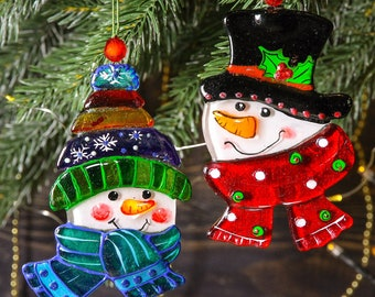 Snowman; Fused Glass Christmas Decoration; Art Glass; Hand painted Christmas Ornament; Colorful Christmas Tree Decoration; Christmas ball
