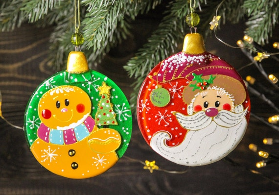 Funny Christmas Balls Colorful Christmas Decorations Fused Etsy
