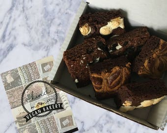Vegan Mixed Brownie Box (6) Cake, Oreo Brownie, Peanut Butter Brownie, Marshmallow Brownie, Vegan Bakery
